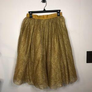 Disneyland Long Gold Fluffy Costume Skirt